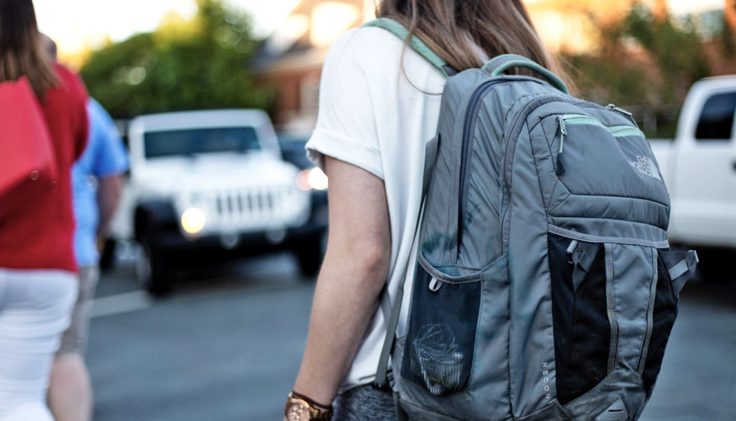 Teenager with backpack