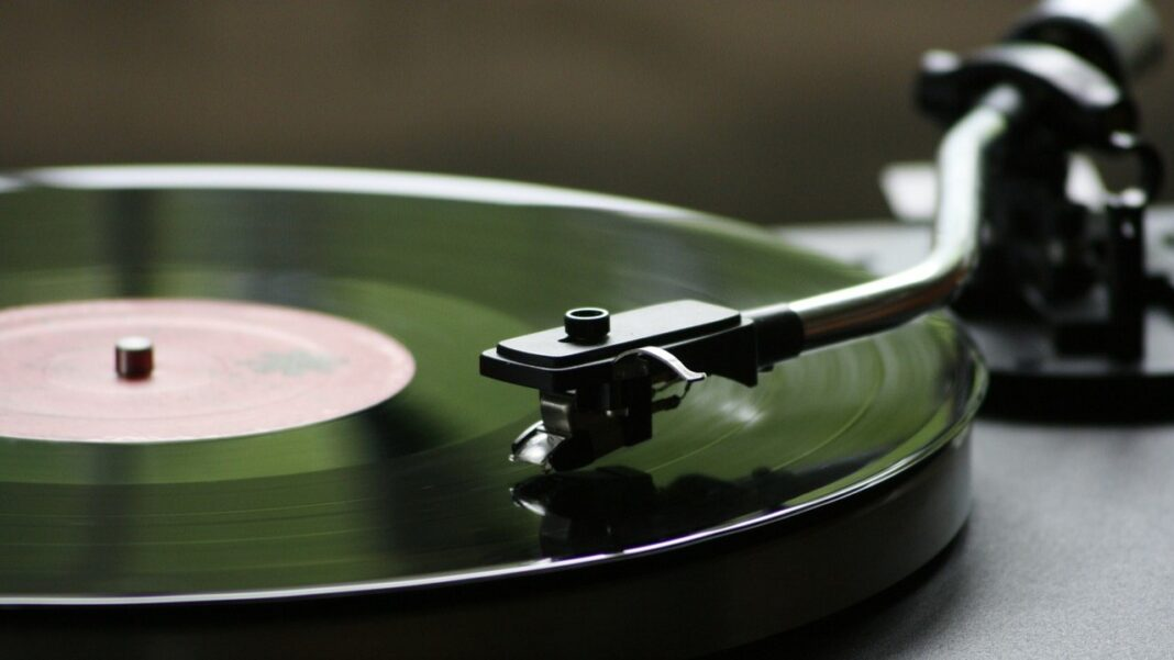 Vinyl disc on turntable